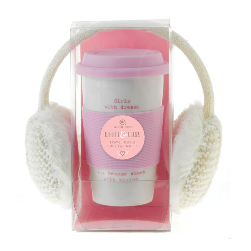 Knitted Ear Muffs and Travel Mug - Cream