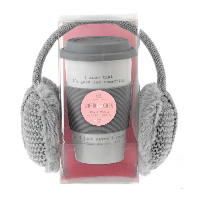 Knitted Ear Muffs and Travel Mug - Grey