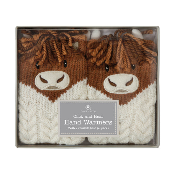 Knitted Highland Cow Hand Warmer