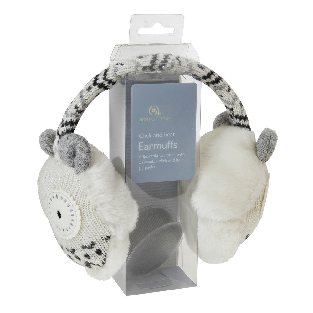 Knitted White Owl Heated Ear Muffs