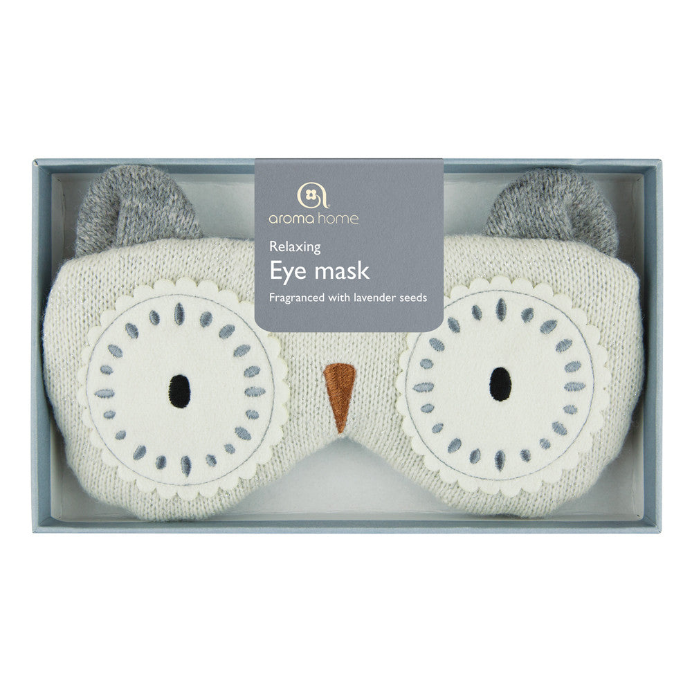 Knitted White Owl Eye Mask
