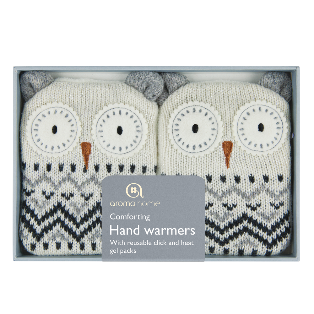 Knitted White Owl Hand Warmers