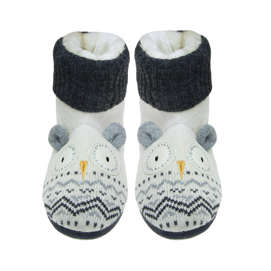 Knitted White Owl Slipper Booties
