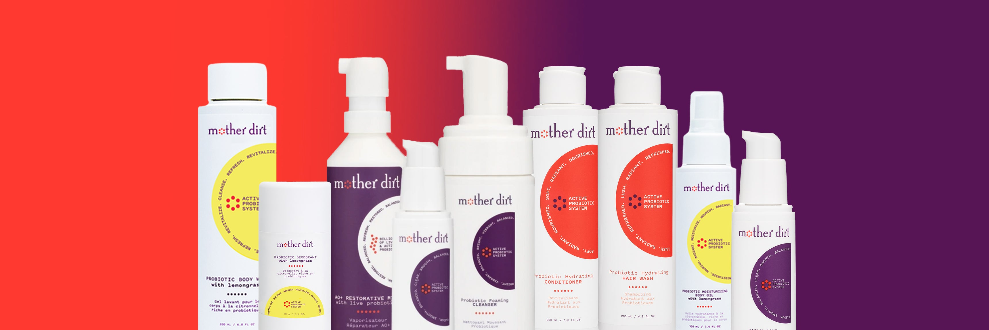 array of mother dirt products over gradient background