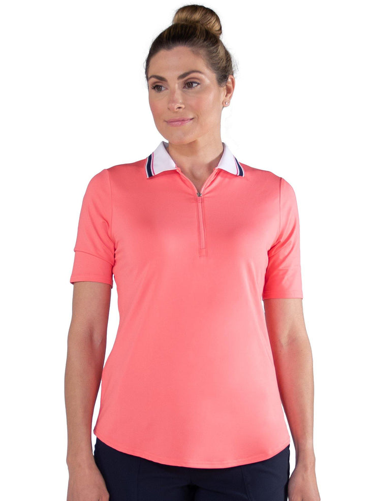 1/2 Sleeve Ribbed Collar Polo