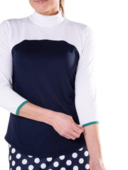 3/4 Sleeve Colorblock Mock