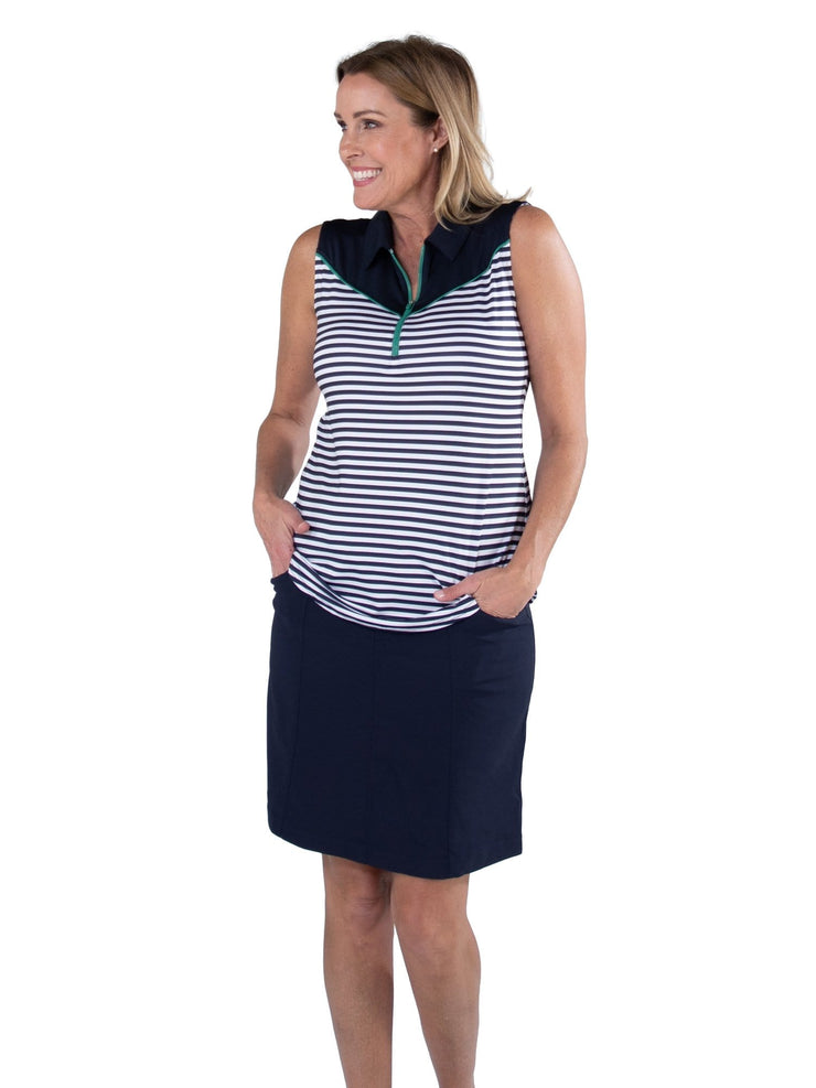 Pointed Yoke Sleeveless Polo