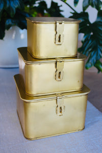 Square Brass Decorative Boxes