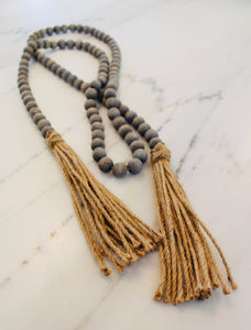 Tasseled Wood Beads with Jute Fringe