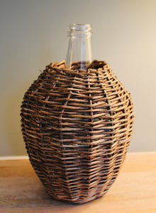 Rattan and Glass Vase