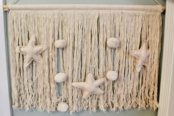Blush and Gold Macrame Hanging Wall Decor