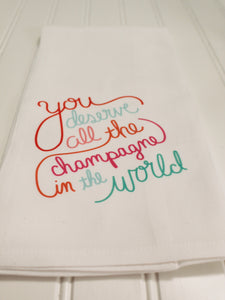 """All the Champagne"" Guest Towel"