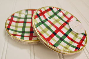 "5"" Festive Holiday Gingham Plates"