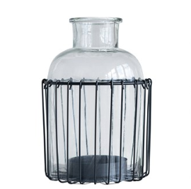 Modern Farmhouse Metal and Glass Container