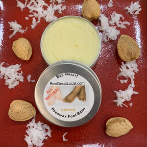 beeswax foot balm with almonds and coconut oil