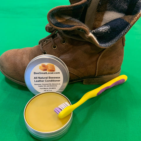 beeswax leather conditioner with boot and brush