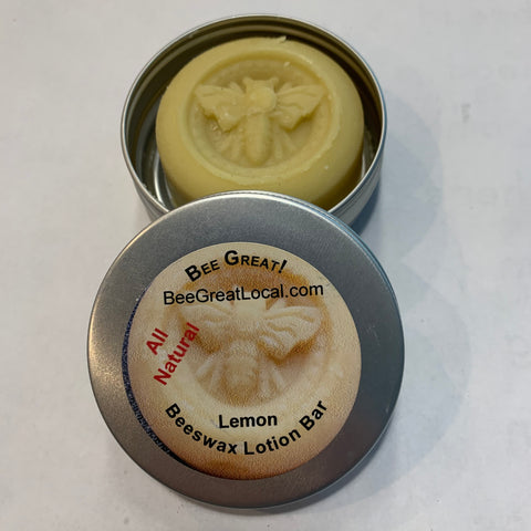 beeswax moisturizer lotion bar lemon in 2 oz metal tin