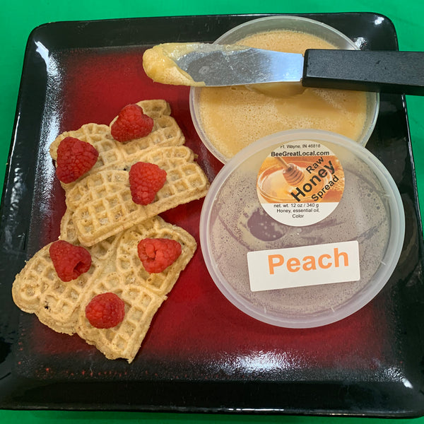 peach honey spread with waffles
