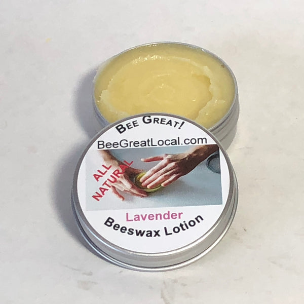 Raw beeswax lotion with lavender essential oil for sale in metal container with screw on lid, go anywhere!