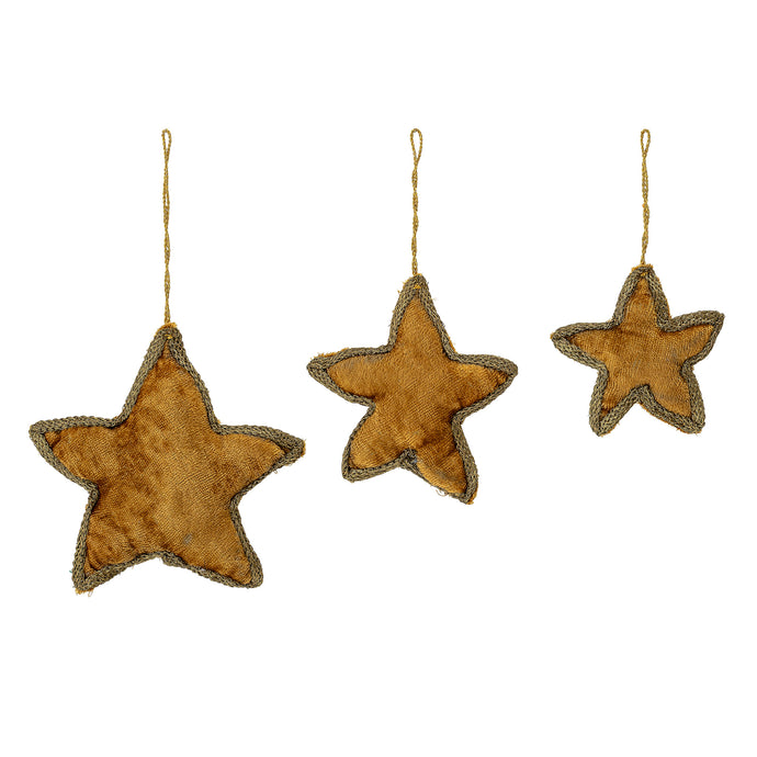 Hanging Star Ornament, Gold, Set of 3