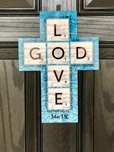 Turquoise Cross Scrabble Tiles.