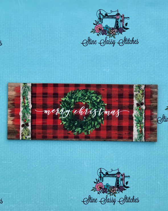 Buffalo Check Merry Christmas Sign