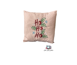 HO HO HO Embroidered Christmas Pillow