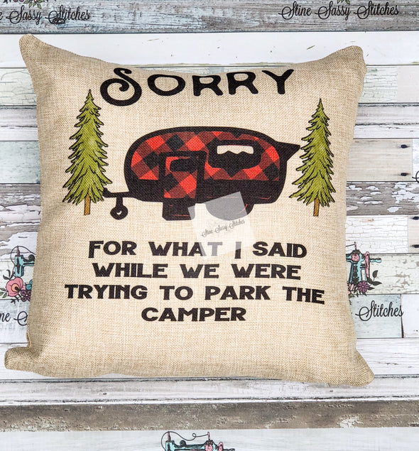 Sorry For What I said Buffalo Plaid Camper