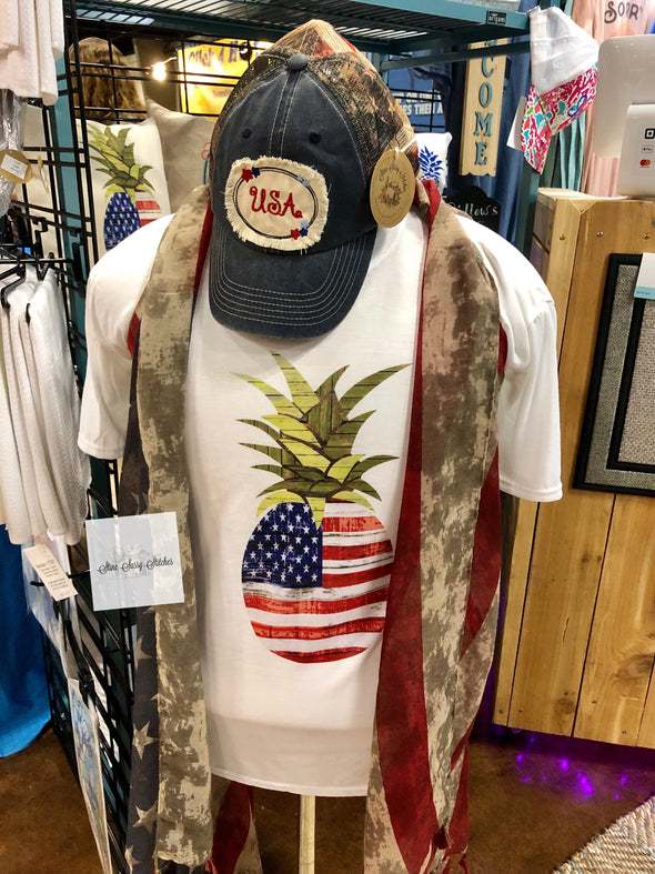 Patriotic Pineapple Short Sleeve T-shirt