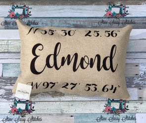 Edmond GPS Coordinates Burlap Pillow cover