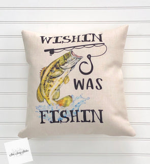 Wishing I Was Fishing Decorative Throw Pillow Cover