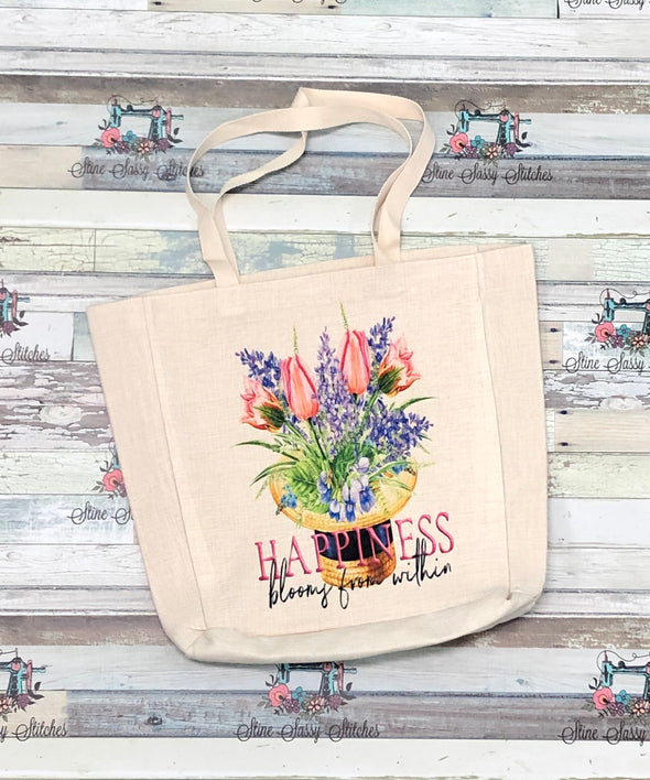 Tulip Linen Tote Shopping Bag
