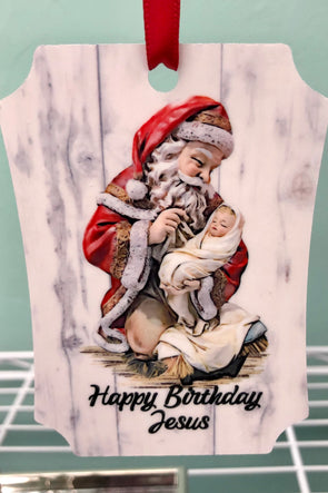 Happy Birthday Jesus with Santa Ornament