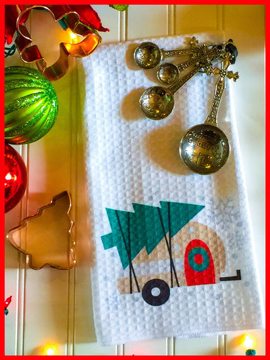 Camper kitchrn towel decor  Christmas Tree tree Christmas camper with tree camping Decor