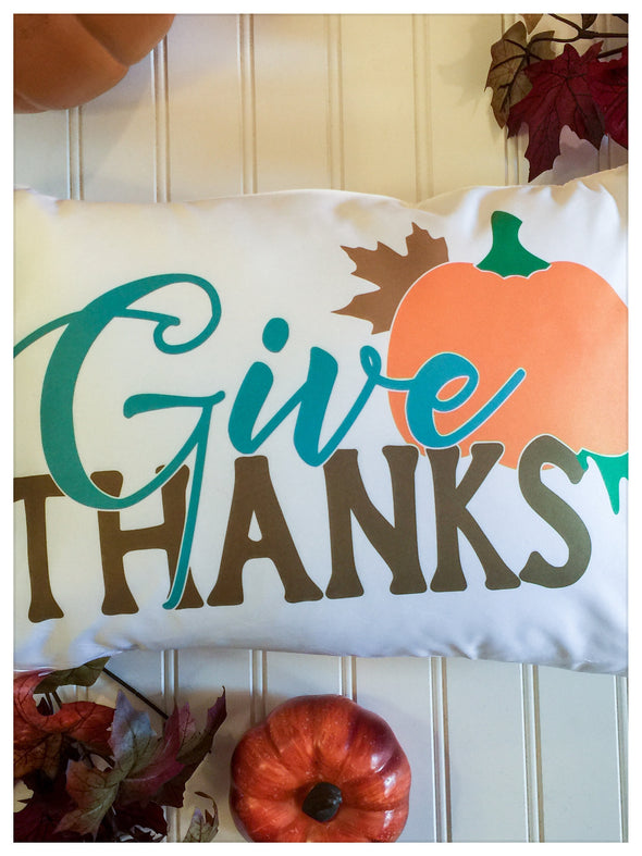 Fall Pillow Cover Give Thanks Pumpkin Design Multiple sizes and fabric options