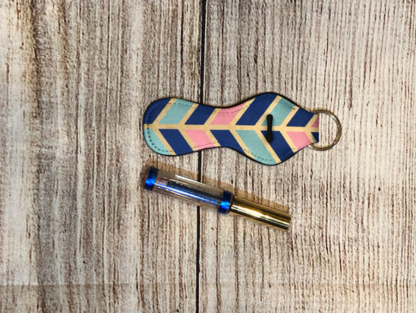 Lip gloss keyring holder  geometric shapes in Pink, Navy, Gold, Teal colors