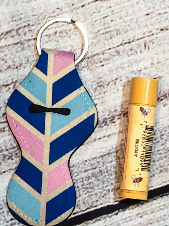 Lip Balm keyring holder / use as a  Flash Drive USB holder Pink, Navy, Gold, Teal