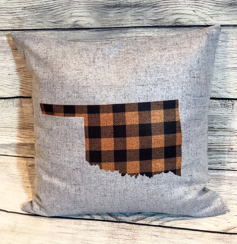 Oklahoma State Pillow Cover Orange Buffalo Plaid