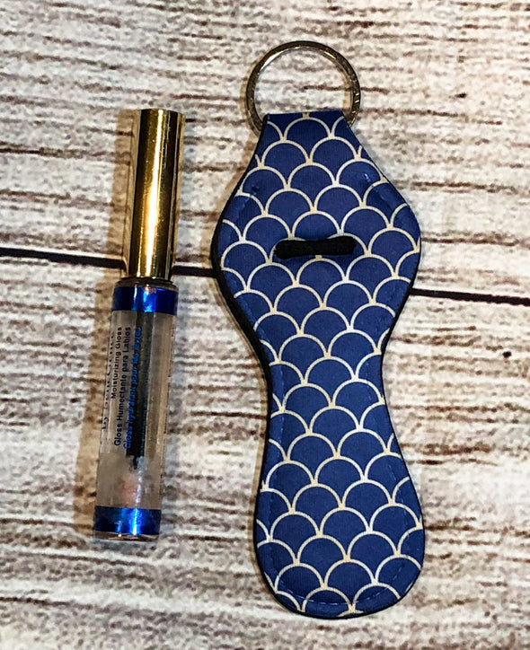 Navy with Gold mermaid scales lip gloss keyring