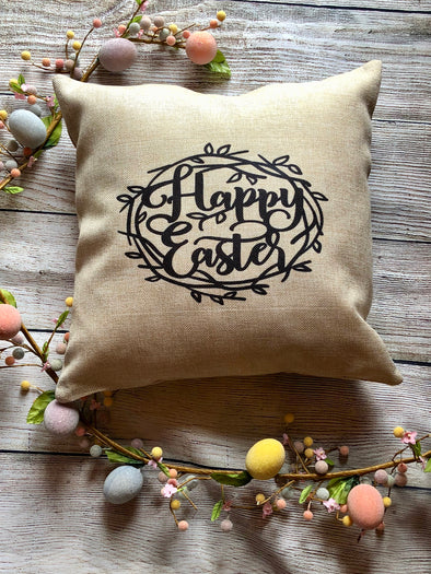 Crown of Thorns  Happy Easter Burlap Pillow Cover