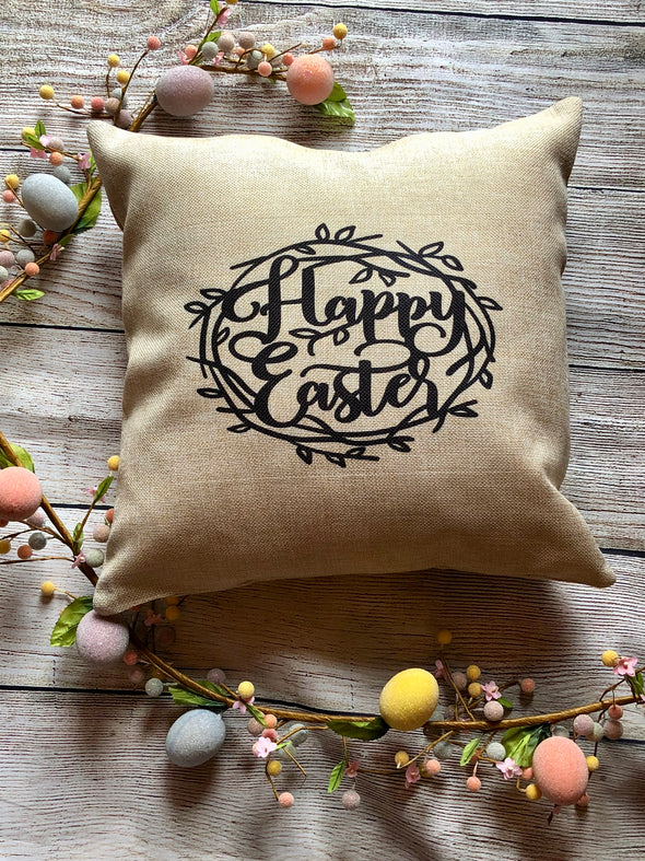 Burlap Pillow Cover| Crown of thorns| Happy Easter