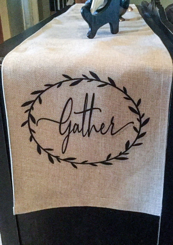 Table runner|Gather| Burlap| Rustic|Simple|Farmhouse Style|Decor| Gift for Mom|Wedding Gift