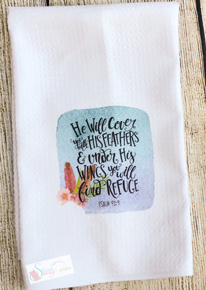 Kitchen Tea Towels Inspirational Scripture Under His Wings Floral feather swag