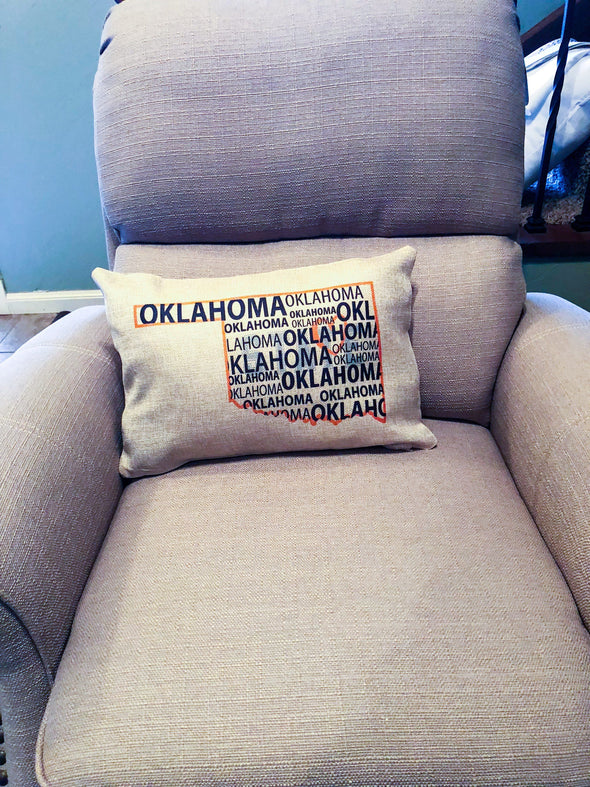 Rectangle Burlap Pillow Cover Oklahoma State Graduation