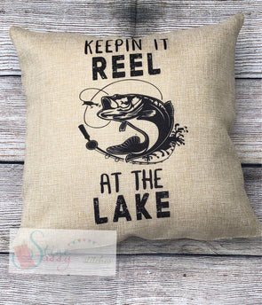 Keepin It Reel Fishing Pillow Cover Faux Burlap throw pillow cover Gift for him lake decor