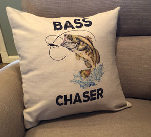 Bass Fishing Pillow Cover