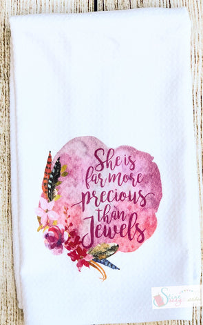 Kitchen Tea Towels Inspirational Scripture Watercolor boho floral feather swag More precious then Jewels