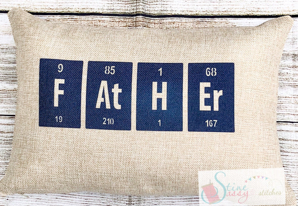 Father's Day Scrabble Tile Faux Burlap Pillow Cover