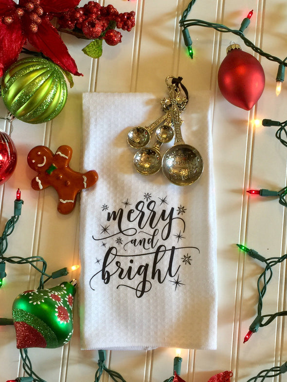 Merry and Bright Kitchen  Waffle Weave Microfiber Christmas Towel