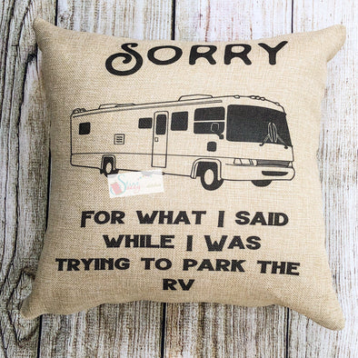 Camping Pillow RV decorative throw pillow faux burlap Pillow Cover